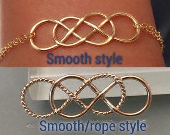 14k yellow gold infinity bracelet, 14k double infinity bracelet, Double infinity bracelet, infinity bracelet, 14k infinity charm, 18k