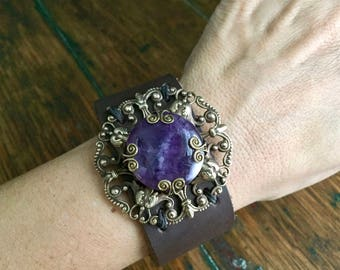 Big Brown Leather Cuff with Antiqued Brass Filigree and Purple Amethyst Cabochon