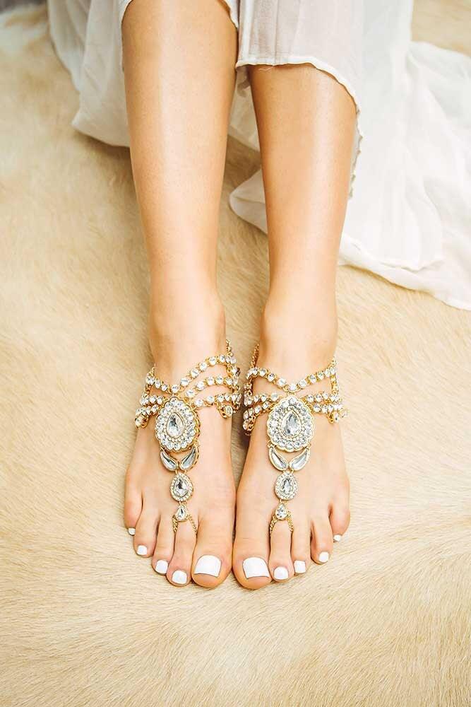 Jewelled Gold Barefoot Sandals Women S Flat Soleless