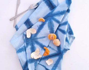 Shibori Kitchen Towels x3 Table Linens, Shibori Tea Towels, Hand Dyed Napkins