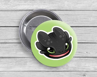 "Toothless Button - How to Train Your Dragon - 1.5"" round"