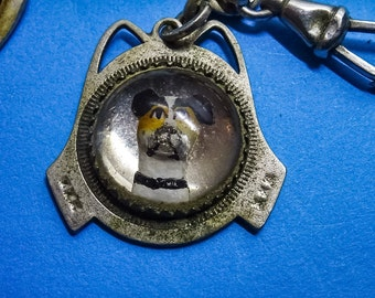 Dog fob. Antique jewelry. Dog intaglio. Hunting dog pendant fob. Pocket Watch Chain. Reverse painted glass. Silver.  jewelry LA eb