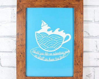 PAPERCUT - Would you like an adventure now or shall we have tea first? Peter Pan inspired original papercut by QueenieDot