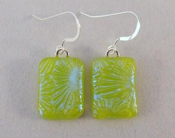 Green Dichroic Fused Glass Dangle Earrings, Fused Glass, Fused Glass Earrings, Glass Earrings, Dichroic Earrings, Dangle, Lime Green