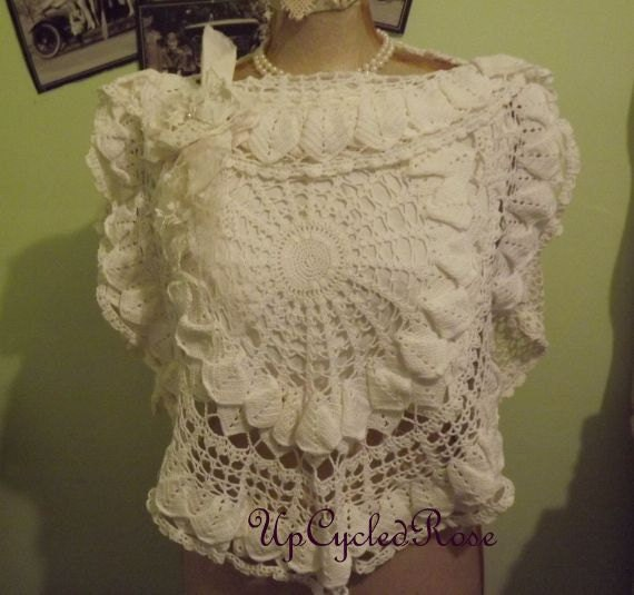 White Wedding Shrug Up-cycled Re-purposed Boho Beach Wedding Ready to Ship