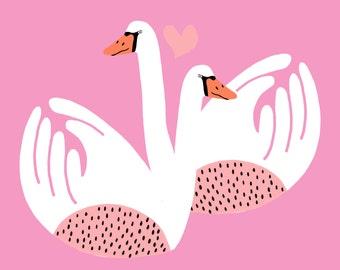 Love Swans Art Print of an Original Illustration, Giclee Print