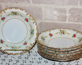 Empress Windmere flat soup, pasta or salad bowls set of 7, dinner party mismatched china or replacement pieces