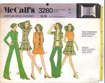 McCall's 3280 Pattern for Misses' Shirt Jacket, Top, Pants, Skirt, Unbonded Knits, Sz 12 or 16, From 1972, Home Sew Pattern, Vintage Pattern