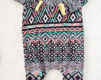 colorful aztec modern pull on romper. 9-12 month ready to ship.  girl outfit