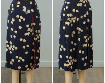 Navy Silk Art Print Wrap Skirt