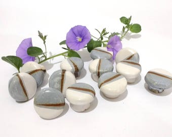 Cabinet Knobs, Ceramic Door Knobs, Ceramic knobs, Unique Door Knobs, Small Round Knobs in Grey White and Brown