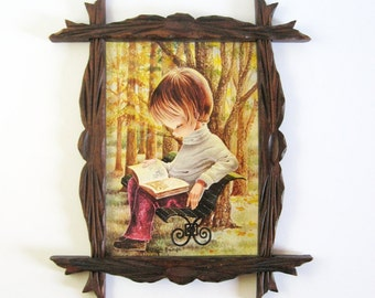 Big Eye Art - Vintage Framed Art Print - Boy Reading Book - Callarda Art - Rustic Wood Frame Retro Wall Decor - Roy Craft Lithograph Print