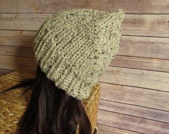 Oatmeal Knit Hat - READY TO SHIP - Chunky Winter Hat - Slouchy Beanie - Warm Winter Hat - Unisex Winter Hat