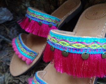 "Greek Leather Sandals ""Nerissa"", Boho sandals, pom pom sandals, colorful hippie sandals, turquoise fuchsia sandals, women sandals shoes"