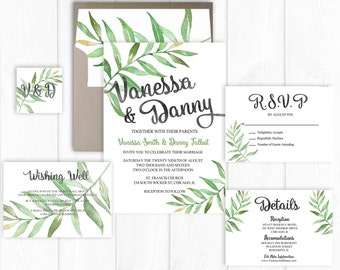 Wedding Invitation Printable Leafy Wedding Invitation Set Garden Wedding Invite Leaves Green Wedding Suite Spring Summer Digital/ Printed