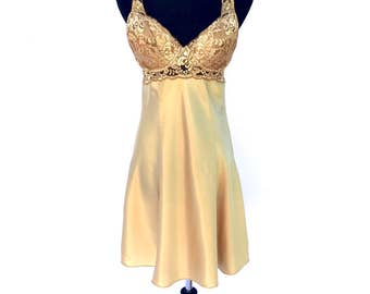 90's vintage gold satin lace embroidered mesh peekaboo slip mini dress MEDIUM