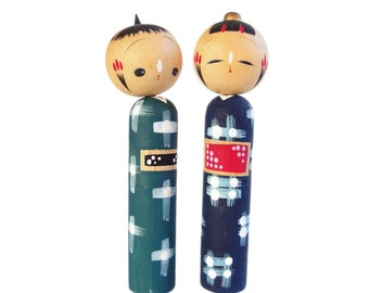 Mid Century Modern Kokeshi Dolls. Hand Painted Vintage Kokeshi. Kokeshi dolls. Handmade Wood Dolls. Colorful Vintage Japanese. Ningyo. Dolls