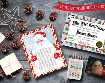 Christmas Package from Santa Claus - Letter from Santa, Nice List Certificate, Elf Gift Bag + Santa Claus Photo