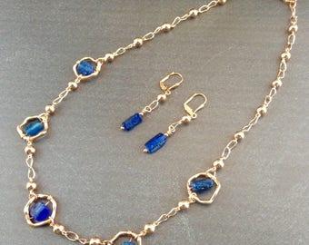 Roman Glass Necklace - Roman Glass Jewelry - Rose Gold Jewelry - Historical Jewelry - Blue glass jewelry - Blue Roman Glass - Roman Blue