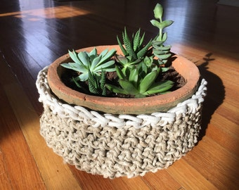 Crocheted Hemp Basket