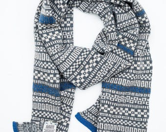 Scarf - Micro Collection - Lambswool Merino - Blue / Grey