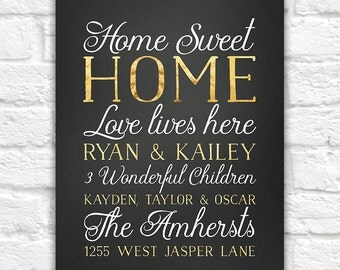 Custom House Sign, Family Surname, Kids Names, Sign for the Wall, Love Lives Here, Home Sweet Home Sign, New House Gift, Gold Decor | WF544
