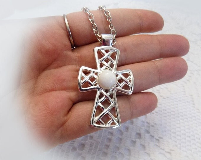 silver tone cross, cross necklace, gift for her, large cross, pearl accent, lobster clasp, detailed cross, patterned cross
