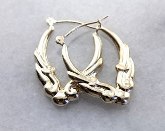 Scrolling Yellow Gold Hoop Earrings, Vintage Lightweight Puffy Hoops 9Z33T8-P