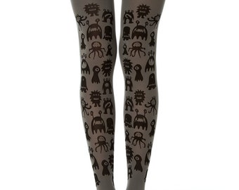 Cute monsters tights in grey