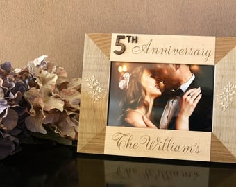5th Year Anniversary Wood Gift for Him. Milestone Anniversary Engraved Photo Frame Wood. Personalized Gift for Couple.