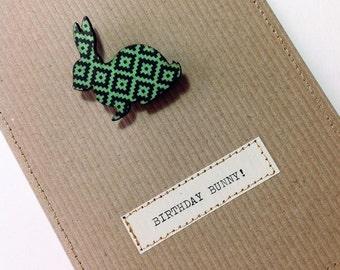Birthday Bunny Brooch Card