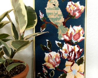 Vintage Gold-Framed Cross Stitch Bird and Flowers / Handwoven Cross Stitch Wall Hanging