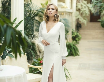 Ivory Crepe Open Back Wedding Dress and Handmade Embellishments, Long Sleeve Wedding Dress with Train L18, Simple Wedding Dress, Bridal
