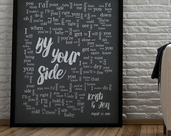 By Your Side // Sade // 1st Anniversary // Wedding song lyrics // Wedding song print // Anniversary Gift //Wedding GiftMade to Order