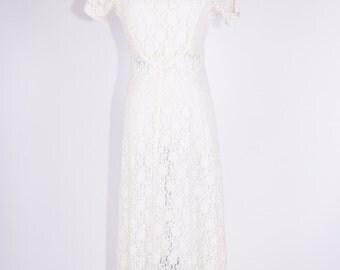 90's White Lace See Through Maxi Dress