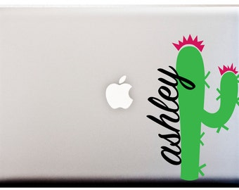 Prickly Cactus MONOGRAM Decal Kawaii Emoji Decal Custom Decal Laptop or Car Decal