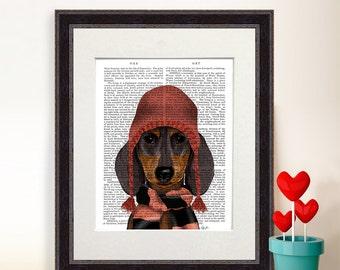 Dachshund Print - Woolly hat and scarf - dachshund gift doxie print Dachshund picture doxie picture hipster dog