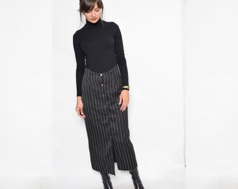Vintage 90's Pinstriped Black Button Maxi Skirt / High Waist Straight Maxi Skirt - Size Medium
