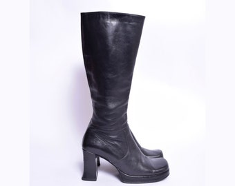 Vintage 90's Tall Black Chunky Heel Real Leather Zipper Boots