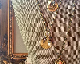 Antique Gold Filled Watch Fob Necklace