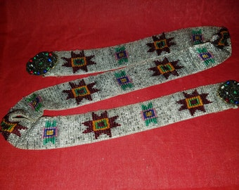 Vintage Glass Beaded Belt W/Rhinestones