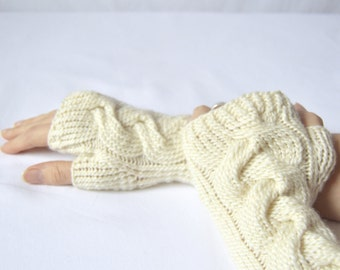 Silk Off White Fingerless Gloves, Wrist Warmers, Merino Wool Cabled Knitwear, Texting Fingerless Mittens, Gifts for Her, Luxury Hand Warmers