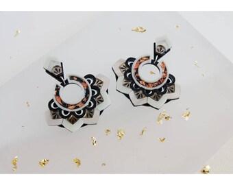 Zigzag Statement Earrings: Bronze & Copper. Laser Cut Stud Drop Earrings. Mirror Frost Acrylic Perspex. Art Deco Geometric Scalloped Hoops