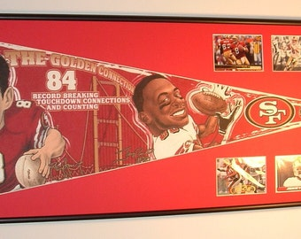 San Francisco 49ers Steve Young and Jerry Rice Pennant Framed..with cards...Custom Framed!!!