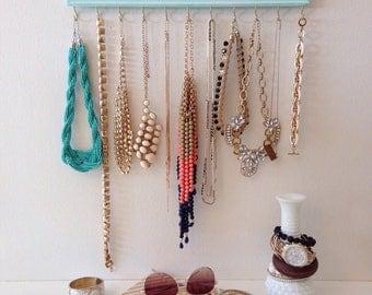 Jewelry Hanger Oganizer / Accessory Organization / Aqua Light Turquoise Distressed / Wall hanging Hooks