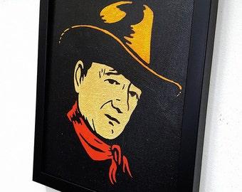 John Wayne RETRO  -  Framed Wall Art Giclee Canvas Paint,Painting, Poster,Print- Great Western Home Decor