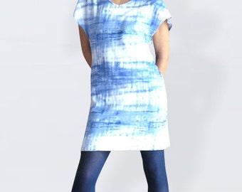 Batik dress, summer dress, mini dress, beach dress, hippie dress, tshirt dress, blue, short dress, waisted, casual