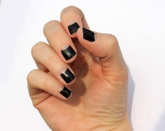 Black Avery Transparent Nail Wraps