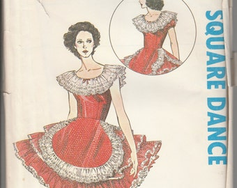 Authentic Patterns 314 Ladies Western Square Dance Dress Ruffle Skirt Misses Size 18 20 40 Bust 40 42 44 Multi Size Sewing Pattern