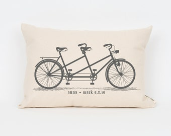 Bikes Pillow, 2nd Anniversary, Unique Wedding Gift, Personalized Pillow, Wedding Gift for Couple, Anniversary Gift for Her, Cute Pillow
